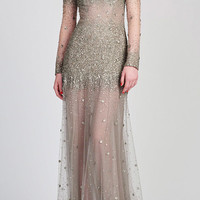 Long Sleeve Illusion Gown | Moda Operandi