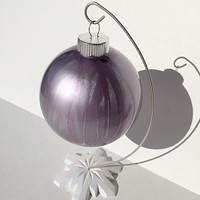 Stained Glass Christmas Ornament Bulb - Purple Silver Swirl - Stained Glass Inspired - Glass Christmas Ornaments