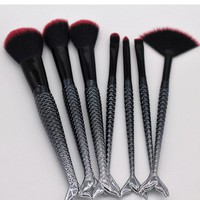 7pcs Mermaid Makeup Brushes Set Complete Foundation Blending Power Eyeshadow Contour Concealer Silver Black Cosmetic Beauty Tool