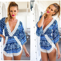 AQ58  Long Sleeve Floral Print Jumpsuit Rompers Women Sexy Chiffon Playsuit Deep V-Neck Jumpsuits Overalls