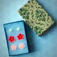 Lotus Lily and Tiny Rose Studs Set of Stud Earrings Floral Jewelry