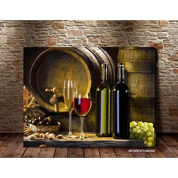 Large Wall Art Canvas White Wine and Wine Bottle Giclee Canvas Art Print Wineglass Art Canvas