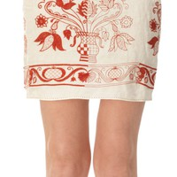Linen Embroidered Skirt | Max Studio Official by Leon Max | MaxStudio.com
