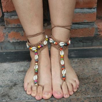 Ethnic Multicolor Shell Anklet Bracelet Crochet Barefoot Sandals Handmade Foot Jewelry Accessory Gift - 03