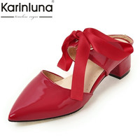 KARINLUNA Plus Size 31-48 Candy Color Mules Women Pumps Square Med Heels Pointed Toe Ladies Shoes Woman 2017 Party Dating