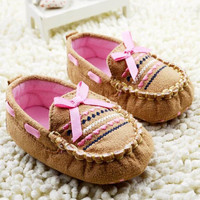 2017 Cute Brown Baby First Walk Shoes Soft Newborn Cotton Bow-knot Shoes
