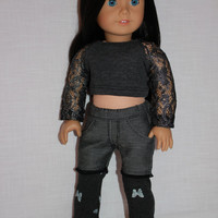 18 inch doll clothes, grey crop top with lace sleeves, dark wash denim shorts with built in leggings, american girl ,maplelea