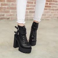 YMECHIC 2018 Autumn Women Buckle Cross Strap Chunky Block High Heels Platform Punk Rock Motorcycle Ankle Boots Ladies Goth Shoes