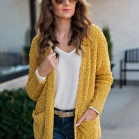 Catching Fall Feels Pocket Cardigan : Mustard