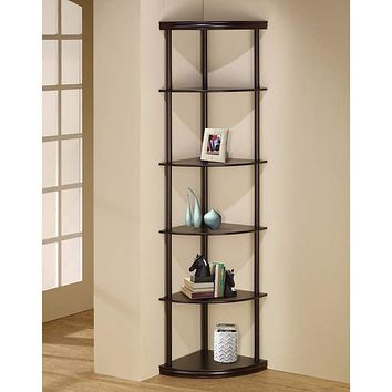 Illuminating corner bookcase with five pie-shaped shelves, Brown