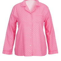 Plus Size - Pink Printed Flannel Shirt - Pretty In Pink