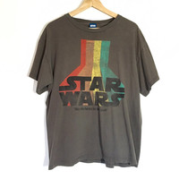 "Starwars Atari Rainbow Vintage T-Shirt | Unisex Size Large, Cotton | 1980s | Official Starwars Tag | ""May the force be with you!"""