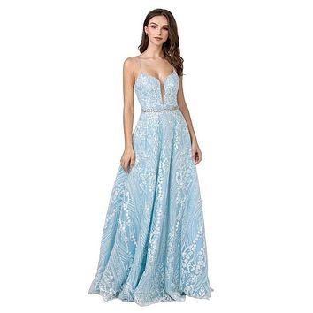 Ice Blue Long Prom Dress with Lace-Up Back