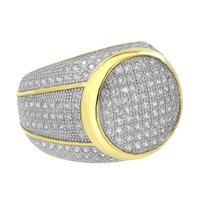 Yellow Gold Finish Ring Bling Sterling Silver Simulated Diamonds