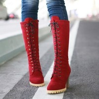 ICIKIX3 Punk Style Lace up High Heel Boots Red = 1945721796