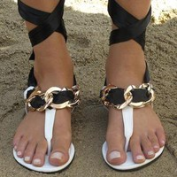 White/Black/Gold toe post sandal from Chockers Shoes
