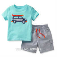 100% Woven Cotton New 2016 Summer Baby Boys 2pc Children Suits Clothing Kids Toddler Boys Short Sleeve Clothes Sets Boys Outwear