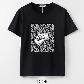 Dior Summer new fashion letter hook print couple top t-shirt Black
