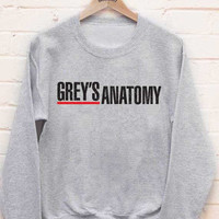 Grey's anatomy printed on White or Light steel Crew neck Sweatshirt