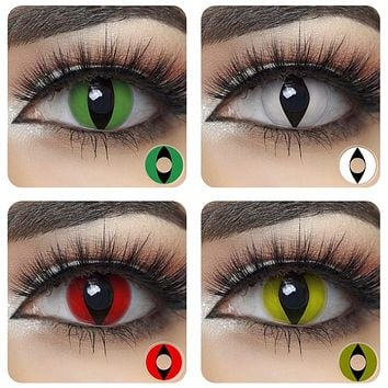1 Pair (2pcs) Cosplay Contact Lenses for Eyes Halloween Cosmetic Rendering Anime Cat Eye Contacts with Color Lens