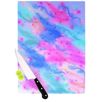 "Ebi Emporium ""Seeing Stars II"" Blue Pink Cutting Board"