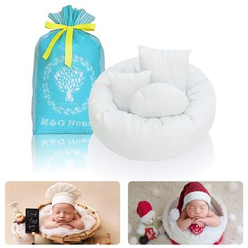 4PC Newborn Photo Props | Baby Photography Basket Pictures | Baby Shower Gift | Infant Posing Props (1 Photo Donut and 3 Posing Pillows) Fits 0-3 Month White