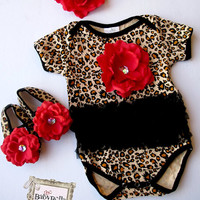 Leopard black tutu Onesuits  Baby  Onesuit  by TheBabyBellaBoutique