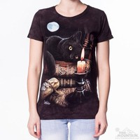 THE WITCHING HOUR Womens T-Shirt Black Cat Magic Witchcraft Tee Top S-2XL NEW!