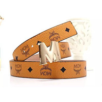 Onewel MCM Waistband Tide brand wild men and women classic print smooth buckle belt brown
