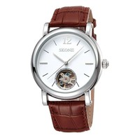 Men's Simple Design Round Dial Genuine Leather Strap Skeleton Automatic Mechanical Watch Brown