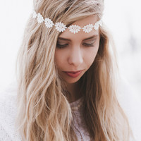 Cream Daisy Headband, Daisy Trim Elastic Headband for Wedding, Festival Headband, Flower Hair Accessory