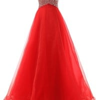 Dressystar Sweetheart Organza Bridesmaid Prom Dresses Long Beaded Evening Gowns Size 26W Red