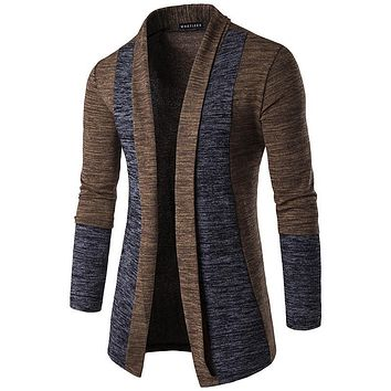 HD-DST 2017 new men's fashion spell color cardigan hoodies casual cotton stitching sweatshirts slim fit tops