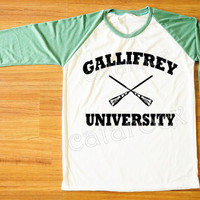 Gallifrey University TShirt Hogwarts Alumni Shirt Funny Tee Shirt Green Sleeve Shirt Women Shirt Men Shirt Unisex Shirt Baseball Tee S,M,L