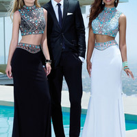 New Charming Black White Two Piece Prom Dresses For Party With High Neck Satin Beading Backless Summer Graduation Gowns C12
