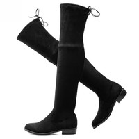 Womens Stretch Suede Over The Knee High Boots Sexy Fashion Lace Up Slim Faux Leather Tall Boots Woman Winter Shoes