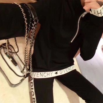 ONETOW Givenchy' Women Casual Fashion Multicolor Letter Upright Neck Long Sleeve Zip Tops