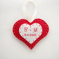 Personalized wedding gift, custom wedding ornament, hanging heart decoration, gifts for the couple, red heart decor, wedding date ornament