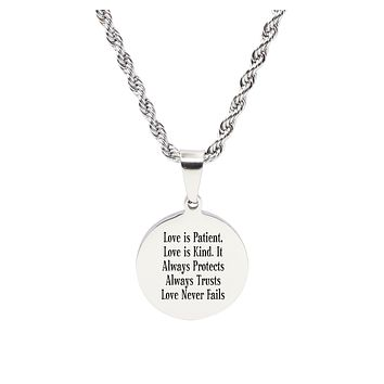 Pink Box Solid Stainless Steel Round Tag Inspirational Necklace
