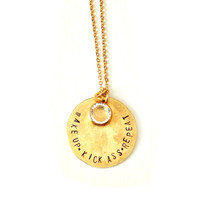 Wake Up Kick Ass Repeat // hammered / charm / coin / necklace  / simple / badass / weight lifting / gold / textured / layer / layering //