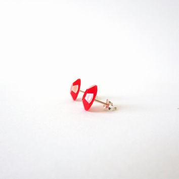 """sterling SILVER 925 STUD earrings RED """"carminio"""". Tiny precious post studs"""