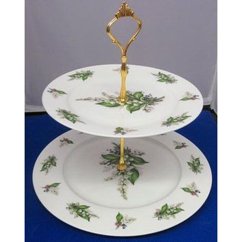 2 Tier Lily of the Valley English Bone China Cake Stand Made in England