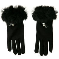 4 Beads and Ribbon Accent Glove with Fur - Black OSFM W21S31F