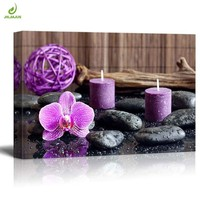 JHLJIAJUN Canvas Painting Modern Orchid Zen Stone Candle Canvas Painting Poster Wall Art Picture Home Decor Wall Art No Frame