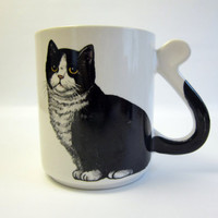 Vintage Black Cat Mug with Tail Handle by FoxLaneVintage on Etsy