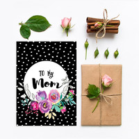 Birthday card for mom, Mothers birthday card printable, Happy birthday mom card, Unique cute funny Mothers day cards, Black pink floral dots