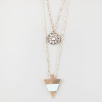 Full Tilt 3 Row Stone/Medallion/Triangle Necklace Gold One Size For Women 25444862101