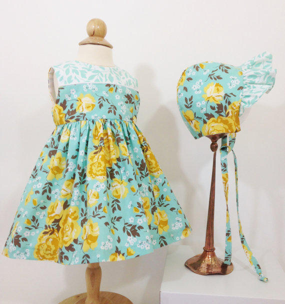 Baby T 12-month-old blue-flowered dress