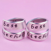 best bitches - Spiral Rings Set, Hand Stamped, Shiny Aluminum, Friendship, BFF Gift, Script Font