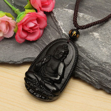 Natural Black Obsidian Stone Carved Buddha Pendant Necklace